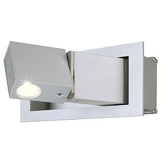 BEDSIDE LED Wandleuchte, 3W, LINKS, warmweiße Spot LED, silbergraues Gehäuse, geöffnet/aktiv