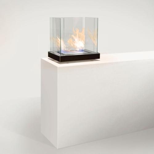 Radius Top Flame Feuerstelle 1,7L - polierter Edelstahl, Korpus schwarz