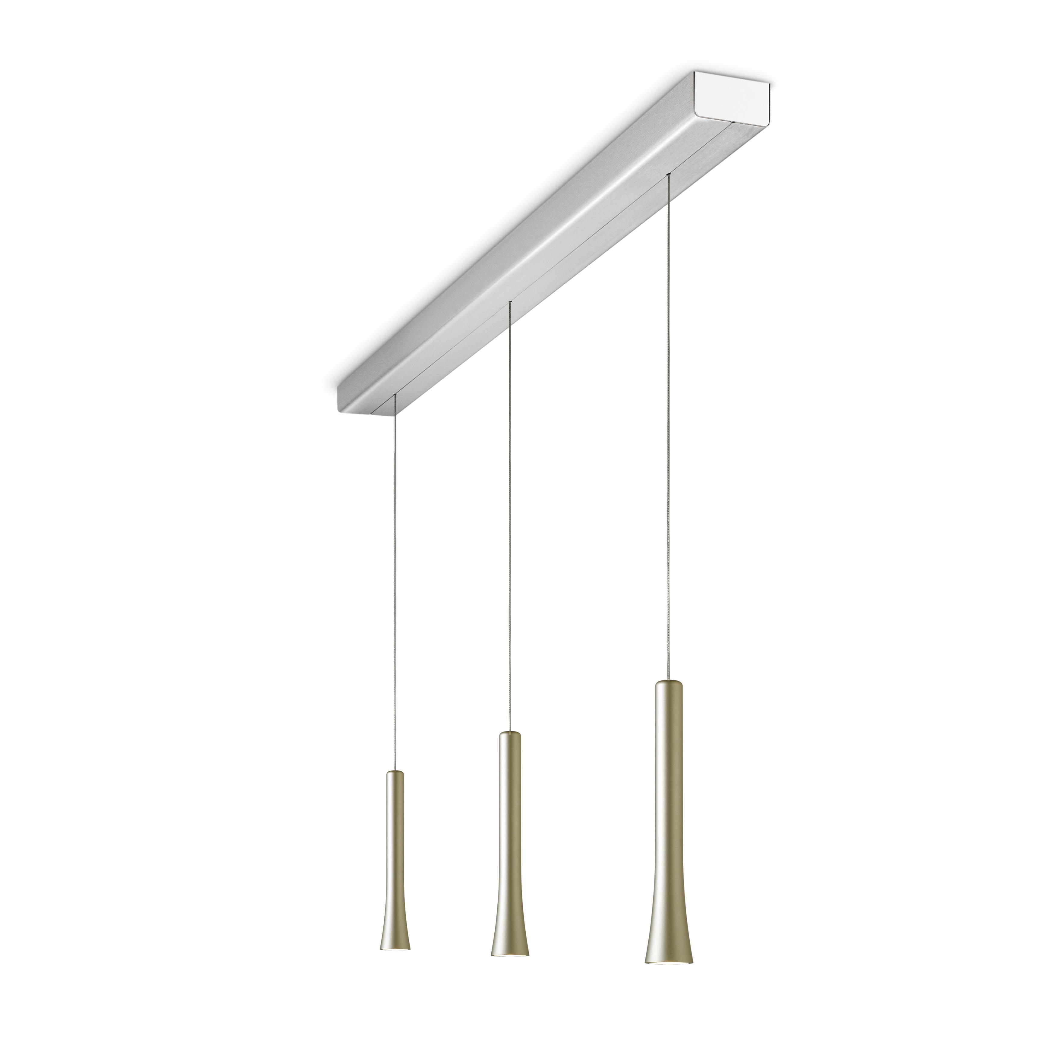 Rio Pendelleuchte mit Kabelzug 3-flammig modular, pearl silver